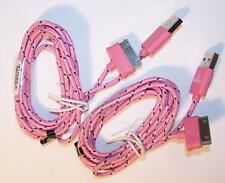 2 LT PINK SIX FT IPHONE 4 I PAD CHARGING CABLE CORDS charger cord usb cell RD