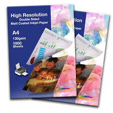 1000 Sheets A4 High Resolution Double Sided Photo Paper 130gsm Smooth Matt