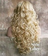 Medium Blonde MIX 3/4 Wig Fall Hair Piece Long Curly Layered Half Wig Hairpiece