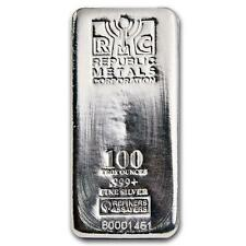 One piece 100 oz 0.999 Fine Silver Bar Republic Metals Corporation Lot 7233