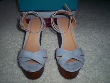 New Bamboo Woobery Strappy Faux Wooden Platform High Wedge Heels Womens size 7