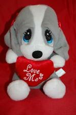 "Sad Sam Honey DanDee Love Me Red Heart Bows Gray Puppy Dog  6.5""  Plush Stuffed"