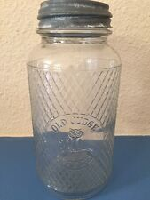 Old Judge Coffee Jar with Embossed Owl & Zinc Canning Lid