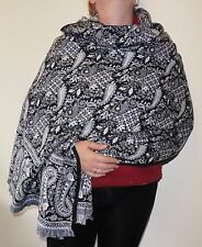 Black & White Paisley Floral Indian Made Soft Acrylic Large Shawl/Blanket (BWP2)