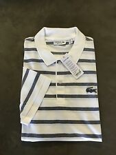 NWT $98 LACOSTE Mens Short Sleeve Striped Polo Shirt  -  Size  7 ( 2XL )