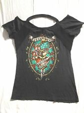 Affliction Inked Black Live Free Born Free Graphic Interesting Neckline T-Shirt