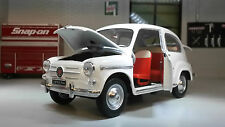G LGB 1:24 Scale Fiat 600D 1960 Whitebox Leo Models Diecast Detailed Model White