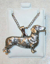 DACHSHUND Smooth Dog Harris Fine Pewter Pendant w Chain Necklace USA Made