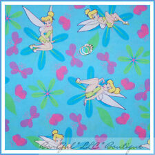 BonEful Fabric FQ Cotton Quilt Pink Disney Princess L Heart Tinkerbell Butterfly
