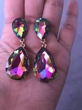 "2"" Long Green Fuchsia EmerAld Teardrop Vitrail Austrian Crystal Pageant Earrings"