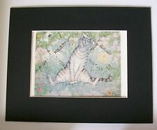 Cat Print Zoe Stokes The Sniffer Catmint Colored Bookplate 1982 8x10 Matted