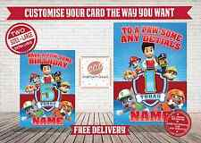 PAW PATROL - Personalised Birthday Card - FREE POST