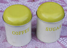 PAIR OF VINTAGE METAL STORAGE TIN CONTAINERS KITCHENALIA coffee and sugar