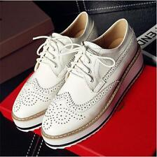 Brogues Lady Oxfords Flat Platform Wing-tip Creeper Lace Up Retro Leisure Shoes