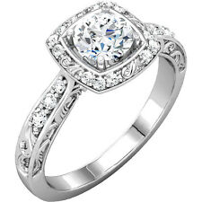 Filigree Halo Diamond Engagement Ring 14K Rose Yellow or White Gold Vintage