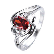 Oval Cut Red Ruby Crystal Ring White Gold Filled Wedding Jewelry Size 6/7/8/9/10