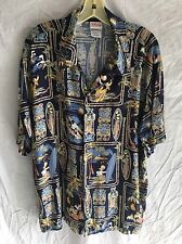 DISNEY Mickey Mouse Donald Duck Surfing Tikis Hawaiian SHIRT L Large EUC Mens