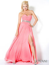 New Jovani Coral Strapless Sweetheart Ruched Bodice Prom Dress Sz 4 NWT