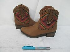 Mossimo Brown Aztec Indian Design Western Cowboy Ankle Boots Size 6