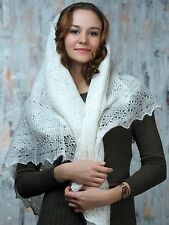 """WHITE STYLE"" RUSSIAN ORENBURG LACE KNITTED GOAT DOWN SHAWL HANDMADE PL034RU"
