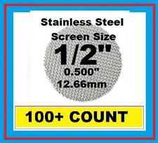 "100+ Stainless Steel PIPE SCREENS .500"" (1/2"") 12.7mm HIGHEST QUALITY USA MADE!!"