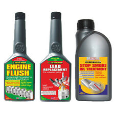 3 Pack ENGINE FLUSH + LEAD REPLACEMENT FUEL ADDITIVE + STOP SMOKE OIL TREATMENT