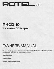 Rotel RHCD-10 CD Player Owners Manual