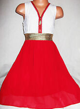 GIRLS WHITE LACE GOLD ZIP TRIM RED CHIFFON CALF LENGTH PARTY DRESS age 3-4