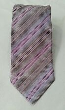 MISSONI Mens Neck Tie Lavender Zip Zag Diagonal Stripe 100% Silk Italy