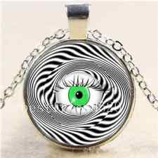 HYPNOTIC EYE Photo Cabochon Glass Tibet Silver Chain Pendant  Necklace#4831