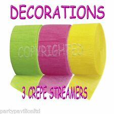 Crepe Streamers  Lime Green Bright Pink Yellow Garlands Swags Party Decorations