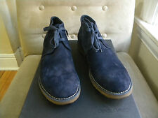 DSQUARED 2 COOL NAVY BLUE TEXTURED LEATHER SUEDE LACE UP ANKLE BOOTS SHOES 45 12