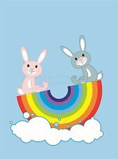 Impresión Cartel Pintura Dibujo Diseño Cute Bunny Rainbow Columpio nube lfmp0596
