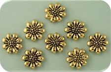 Beads Mini Flowers ~ Daisy ~ Sunflower ~Gold Plated Metal ~2 Hole Sliders ~QTY 8
