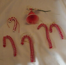 """Lot of 6 Christmas Ornaments Candy Cane Bell Holiday Decoration 4"""" Tall Ornament"""