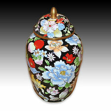 CHINESE CLOISONNE ENAMEL BLUE LIDDED POT/JAR/VASE FLORAL ON BLACK MOTIF