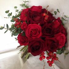 Made To Order Artificial Wedding Flower Bride Bouquet Red Rose Rustic  Winter