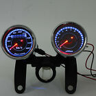 Universal Motorcycle Tachometer Odometer Speedometer led Gauge + Bracket Kit