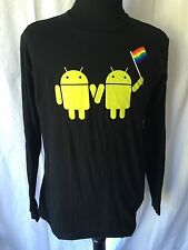 GOOGLE Android Gay Pride Rainbow Flag L/S T-SHIRT Size Large American Apparel