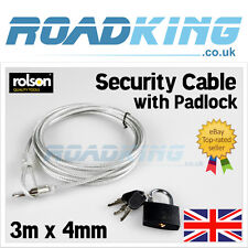 Rolson Security Cable & Lock | 3m x 4mm Steel Wire Brass Padlock Bike Protection