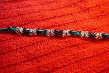 Sparkly Swarovski Crystals & Sueded Leather Bracelet - 7 1/2 - Native American