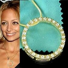 w Swarovski Crystal ~CIRCLE OF LOVE Hollywood Celebrity Gold PL Pendant Necklace