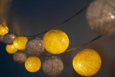 Yellow and Gray Cotton Ball String Lights Fairy lights Party Decor Wedding
