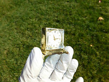 RARE VINTAGE SWISS MECHANICAL MINI CLOCK / WATCH WITH THERMOMETER ( WATCH VIDEO)