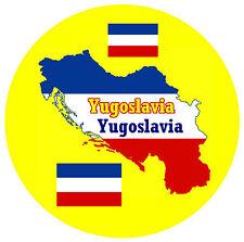 YUGOSLAVIA - MAP / FLAG - ROUND SOUVENIR FRIDGE MAGNET - BRAND NEW / GIFT