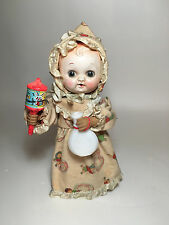 "9.5"" Antique Vtg WIND UP mechanical Drinking Baby Noise Maker Toy Doll JAPAN"