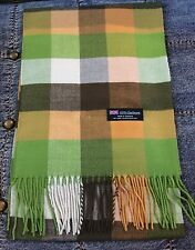 100% Cashmere Scarf White Green Check Plaid Made in Scotland SOFT Warm NEW