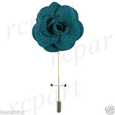 New in box formal Men's Suit chest brooch teal blue flower lapel pin wedding