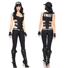 Hot  Lady SWAT Costume Police Cop Uniforms Halloween Policewoman Cosplay Outfits