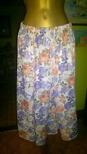 PASTEL PINK LILAC GREEN FLORAL  VINTAGE CALF LENGTH  SKIRT 70'S SISSY 12 14 16